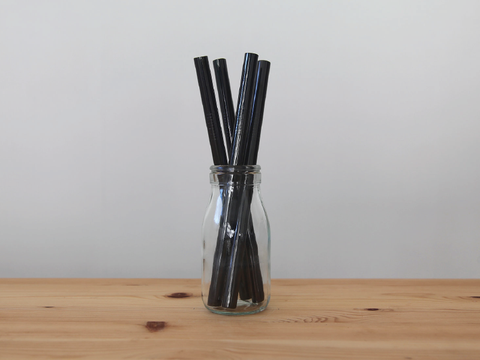 Black Colored Straw - wrapped