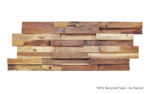 Recycled 3D Teakwood Wall Panels - Au Naturel (Available in Cases or as a Sample)