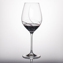 Load image into Gallery viewer, Pink Ribbon Red Wine Glass Engraved Stemware with Swarovski Crystals