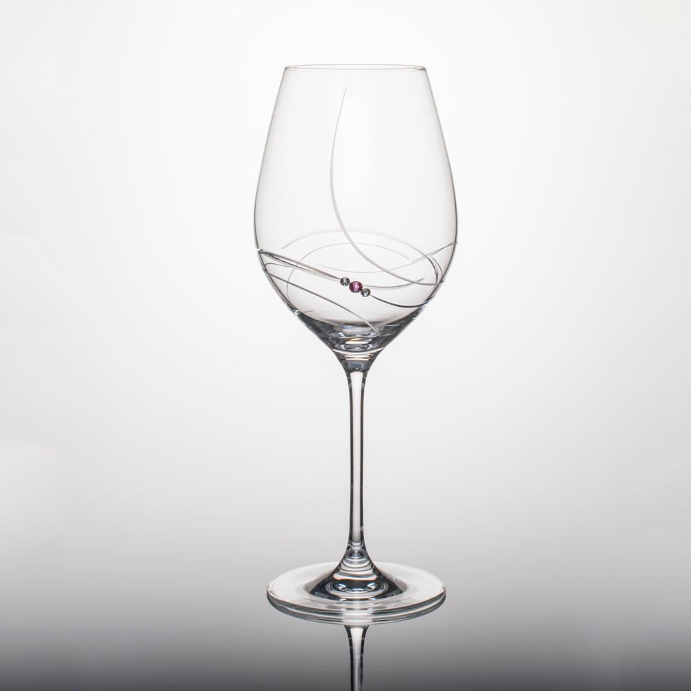 Pink Ribbon Red Wine Glass Engraved Stemware with Swarovski Crystals