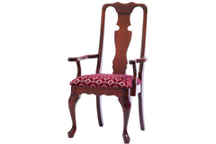 Queen Victoria Arm Chair in Cherry with Rich Finish - Fabric Shown Has Been Discontinued