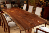 Spirit Live Edge Walnut Dining Table Showcases the Natural Beauty of Walnut Wood Grain and Luster