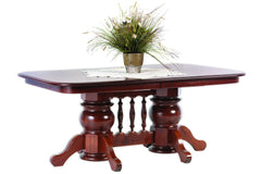 Queen Victoria Double Pedestal Dining Table in Cherry with Rich Finish