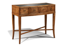 Parker Ridge Wood Top Console Table in Westport Finish with Antique Mirror Top