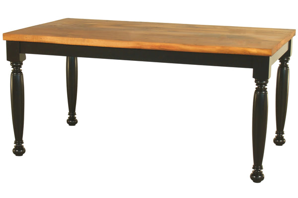 Boston Old Oak Farmhouse Table with Black, Turned-Leg Base and Natural Oak Top