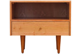 Asher Bedside Table in Cherry with Natural Finish with Straight Legs