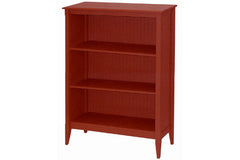 Wide cottage bookcase with 3 fixed shelves in Burgundy Rose