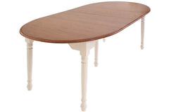 Bay Harbour dining table in Oak with Vintage Lace legs and Auburn top