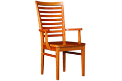 Bedford Ladder-Back Arm Dining Chair in Cherry with Natural Finish