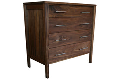 4-Drawer Berkeley Chest in Walnut with Nickel Bar Drawer Pulls