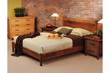 Berkeley Bed in Walnut with 2-drawer and Open Nightstand and 4-drawer Chest in Cherry