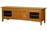 Heartwood Media Console with Four Drawers and Squared Edges in Cherry