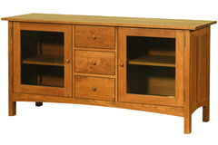 Heartwood Media Console with Three Drawers and Squared Edges in Cherry