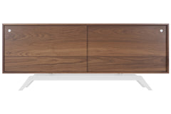 Elko Credenza in Walnut with White Steel Base