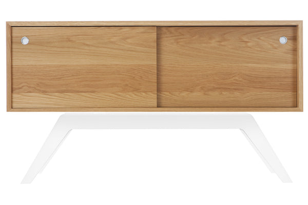 Small Elko Credenza in White Oak with White Steel Base