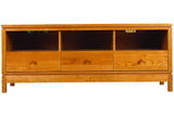 "Franklin 60"" Media Console with Three Drawers in Cherry with Wood Tapered Knob Pulls"