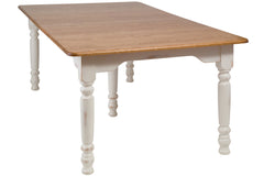 Farmhouse Dining Table in Oak with Auburn Top and Vintage Lace Legs - Shown with Custom Distressing, Please Call to Inquire