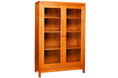 Franklin 60-inch Bookcase with Glass Doors in Cherry with Natural Finish