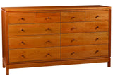 Franklin 10-drawer Dresser in Cherry with Natural Finish and Wood Knob Drawer Pulls