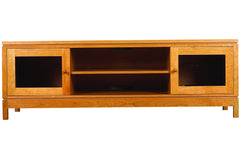 Franklin Media Console with 2 Open Shelves and 2 Cabinets in Cherry with Wood Knob Pulls