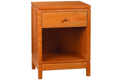 Franklin Bedside Table in Cherry with Natural Finish and Wood Knob Drawer Pull