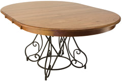 Hanover Dining Table with Solid Cherry Top in Sunset Finish and Black Metal Base