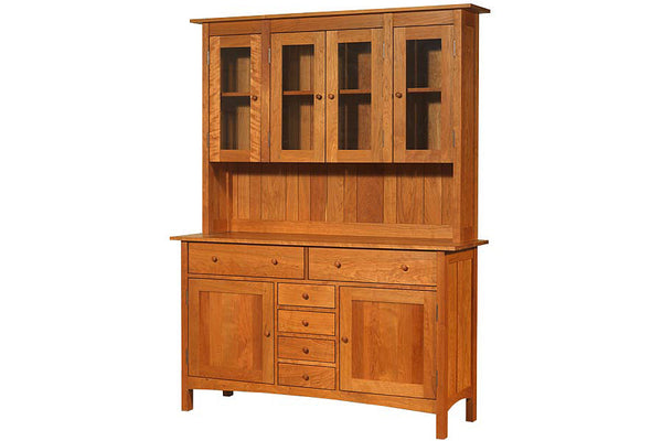 Heartwood Sideboard with Glass Doors Hutch in Cherry