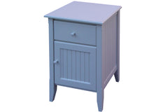 Cottage bead board bedside table with one drawer and door in Angel White