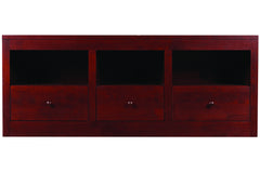 "Linden 60"" Media Console with Three Drawers & Open Shelves in Cherry with Scotia Finish and Wood Knob Pulls"