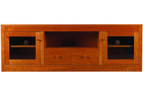 Linden Media Console with 2 Drawers and 2 Cabinets in Cherry with Mahogany Finish and Wood Knob Pulls