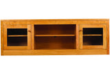 Linden Media Console with 2 Shelves and 2 Cabinets in Cherry with Natural Finish and Wood Knob Pulls