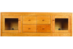 Linden Media Console with 4 Drawers and 2 Cabinets in Cherry with Natural Finish and Wood Knob Pulls