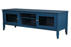 65-Inch Media Console with Glass Doors in Custom Blue Slate. Shown with Custom Natural Knobs, While Standard is Painted Knobs