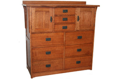 California Mission 9-Drawer Dresser with Two Cabinets