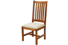 Mission Side Chair in Cherry with Ivory Fabric Seat