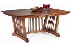 New Classic Mission Double Pedestal Dining Table in Quarter-Sawn White Oak with Classic White Oak Finish