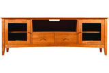 Newport Media Console with 2 Drawers and 2 Cabinets in Cherry with Natural Finish and Wood Knob Drawer Pulls