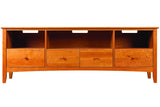 Newport Media Console with 4 Bottom Drawers in Cherry with Natural Finish and Wood Knob Drawer Pulls