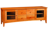 Newport Media Console with 4 Drawers and 2 Cabinets in Cherry with Natural Finish and Wood Knob Drawer Pulls