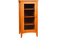 Newport Media Cabinet in Cherry with Natural Finish and Left Glass Door