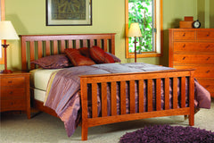 Newport Bed with Picket Style Headboard and Footboard in Cherry with Natural Finish