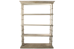 Reclaimed Roman Bookcase in Gray Wash Wax Finish