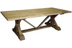 Reclaimed X Dining Table in Light Brown Wax Finish