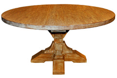 Reclaimed Pedestal Dining Table in Medium Brown Wax Finish