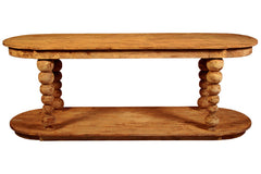 Reclaimed Lumber Oval Console in Medium Brown Wax Finish