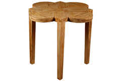 Quatre Feuille Side Table in Medium Brown Wax Finish