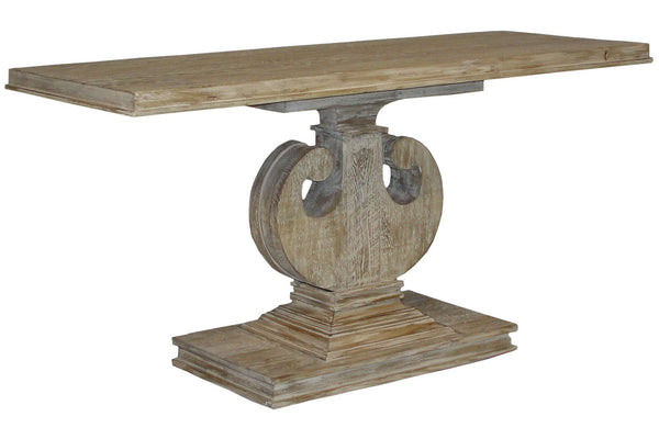 Reclaimed Pedestal Console in Gray Wash Wax FInish