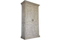 Gothic Armoire in Gray Washed Wax Finish