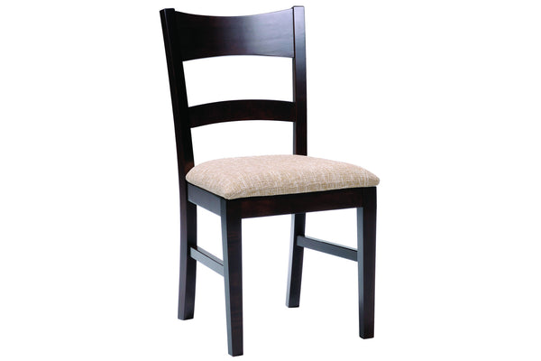 Platinum Side Chair in Espresso Maple Finish with Cream Upholstered Seat