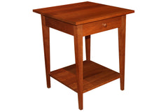 Northwest Prairie Nightstand with 1 Drawer and Shelf with Shaker Knob Pull in Cherry